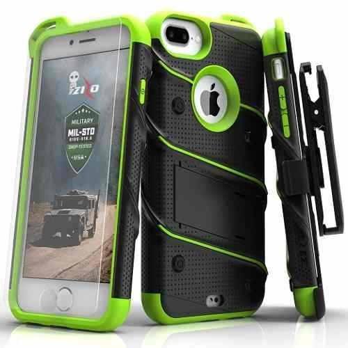 Case Protector iPhone 8 Plus 7+ Con Vidrio T. Extremo Verde