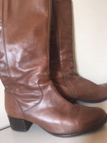 Bota Em Couro Cano Alto Da Shoestock, Tamanho 36