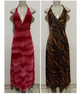 Lote 2 Vestidos - Longo -rosa-marrom-preto- Frente Única