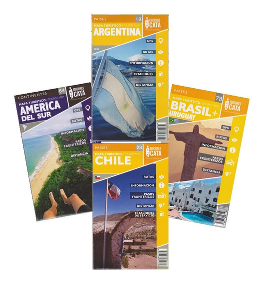 Kit Com 4 Mapas Argentina, Chile, Uruguai E América Do Sul