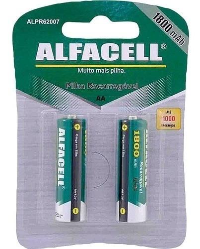 Pilha Recarregável Aa Alfacell 1800mah C/02 Un.