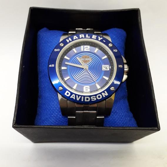 Relógio Harley Davidson Bulova Azul 45 Mm Em Perfeito Estado