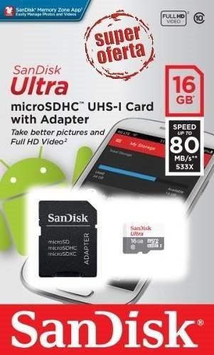 Cartão Memória Sandisk 16gb Micro Sdhc Classe 10 Ultra