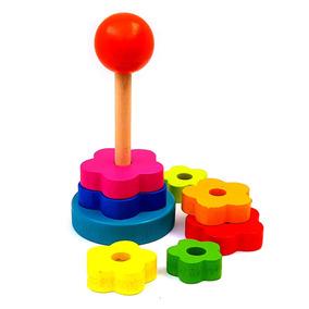 Brinquedo Madeira Educativo Pedagógico Mini Torre Arco-íris