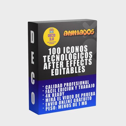 100 Icono Animado Tecnología Proyecto After Effects Editable