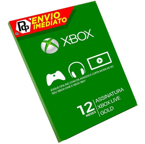 Cartão Xbox Live 12 Gold Meses Brasil 12 M Brasileira Br