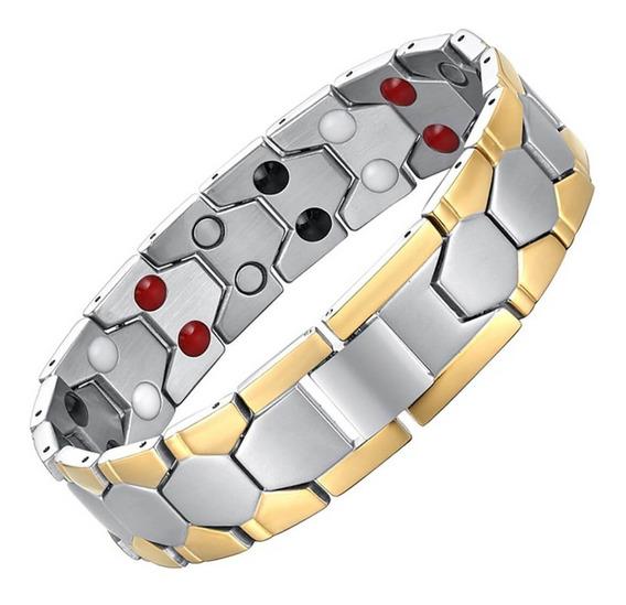Pulseira Masculina Bracelete Magnético Aço Titânio