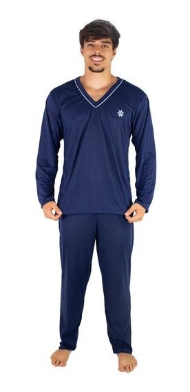 Pijama Longo Adulto Masculino Blusa Manga Comprida E Calça