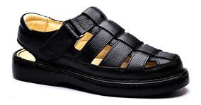 Sandália Masculina 321 Em Couro Floater Preto Doctor Shoes