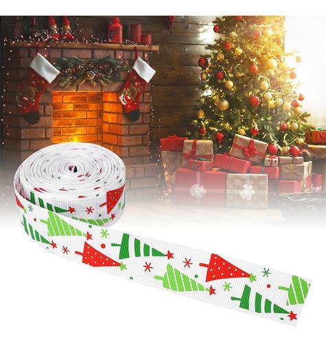 Cinta de Raso de Navidad Sat/én 100 yardas Rojo Verde /Árbol de Navidad Copos de nieve Cinta de tela cinta satinado Merry de Navidad para regalos de bricolaje,Lazos para el cabello,Tela artesanal,Boda