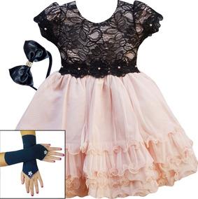 Vestido Infantil Princesa Dama Formatura Aniversário E Luva
