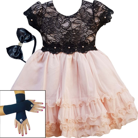 Vestido Infantil Realeza Rose Salmão E Rosa Azul Luxo