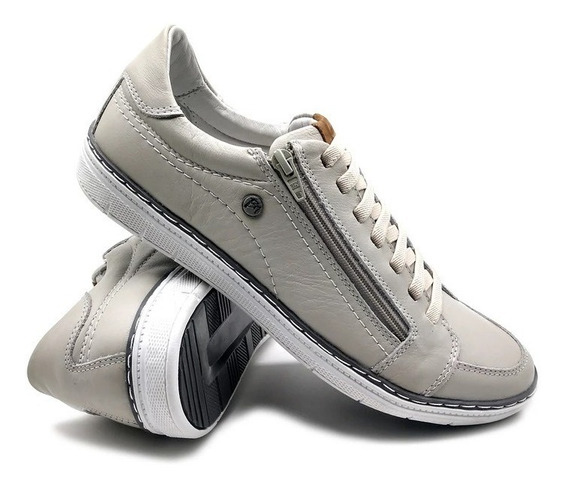 Sapatênis Sapato Casual Bmbrasil Couro Palmilha Gel Zíper