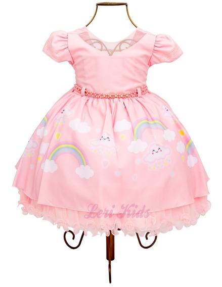 Vestido Chuva De Amor Arco Luxo Festa Infantil 1 Ano