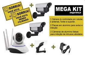 Kit Câmera Ip Via Celular + 2 Câmeras Leds Inibição - Placas