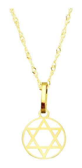 Corrente Feminina 45cm + Pingente Estrela De Davi P Ouro18k
