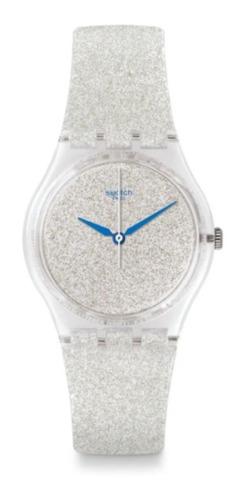Reloj Swatch De Mujer Glitter Plateado Snowshine Ge250