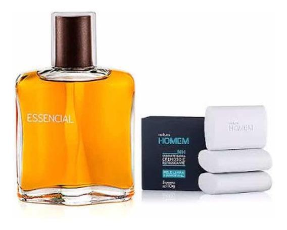 Perfume Essencial 100ml + 3 Sabonete Natura Homem 110g