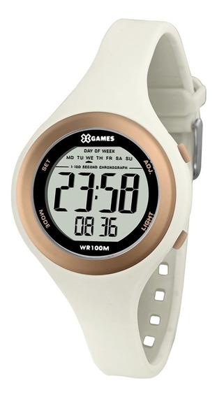 Relógio X-games Digital Feminino Branco E Rose Xfppd036
