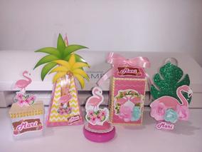 Flamingo Kit Festa Personalizado Caixa Acrílica - 60 Peças