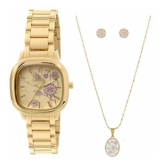 Relógio Allora Kit Semi Joia Feminino Dourado - Al2036ce/k4d