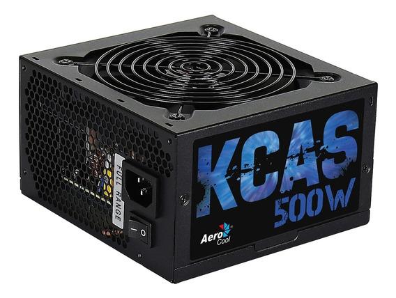 Fonte Atx De Computador 500w Sem Cabo Kcas Aerocool Preto