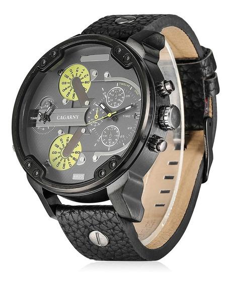 Relógio Masculino Cagarny Preto - Pulseira Couro Original