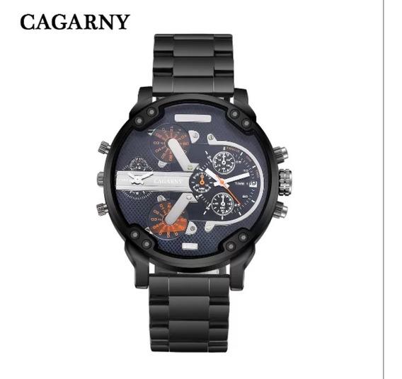 Relógio Masculino Preto Cagarny Barato Luxo Tipo Diesel Novo