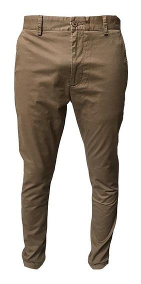 Pantalón De Hombre Bensimon Chino Rock Camel Skinny Clasic