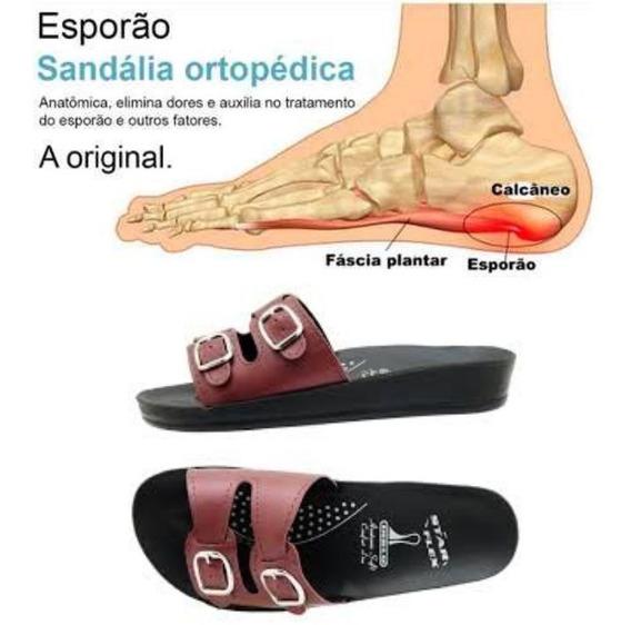 Sandália Ortopédica Star Flex Anatômica Confort 2 Tira Vinho
