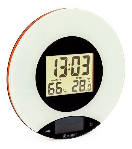 Imagem 1 de 9 de Balança De Cozinha Touch Screen Com Relógio Termo-higrômetro