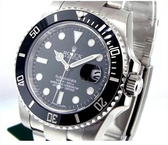 Relógio Sub-mariner Preto Luxo Suíço Fundo Preto