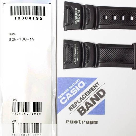 Pulseira Casio Sgw-100 Sgw-100h 100% Original - Resina Preta