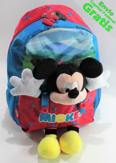 Mochila Jardin Mickey Disney Colegio Maternal Km804 Peluche