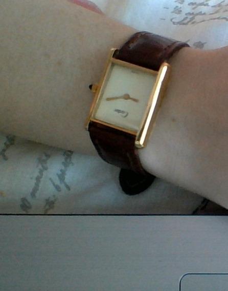 Relógio Cartier Swiss Mecânico Ouro 18k Pulseira De Couro