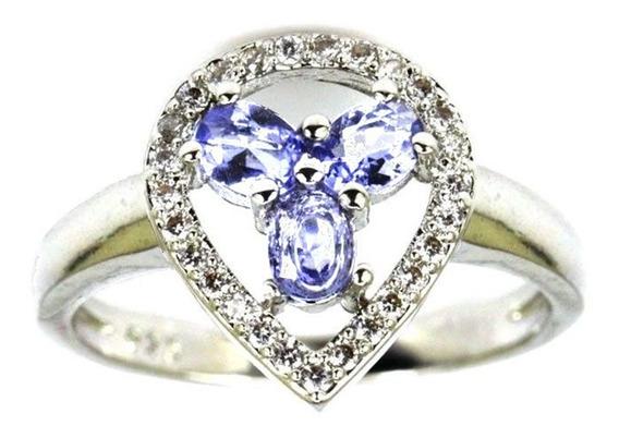 Anel Feminino Prata 925 Coração Safira Natural 345 F