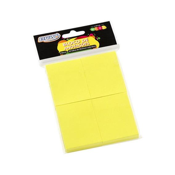Bloco De Anotações 38x51mm Amarelo Neon Brw 04un Com 100fls