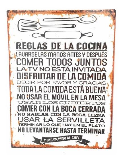 Chapa Decorativa Frase Reglas De La Cocina Vintage Quincho