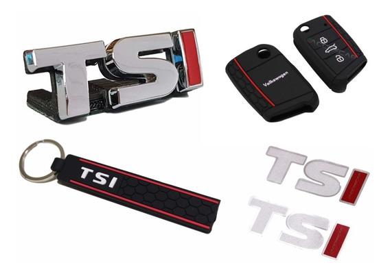 Kit Emblema Tsi + Capa Chave Vw Polo + Chaveiro + Adesivos