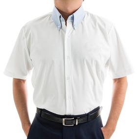 09bbc94777 Camisa Social M c Masculina Branca C  Stretch E Detalhe Azul