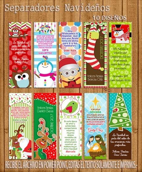 Kit Imprimible Editable Separadores Navidad - 10 Modelos