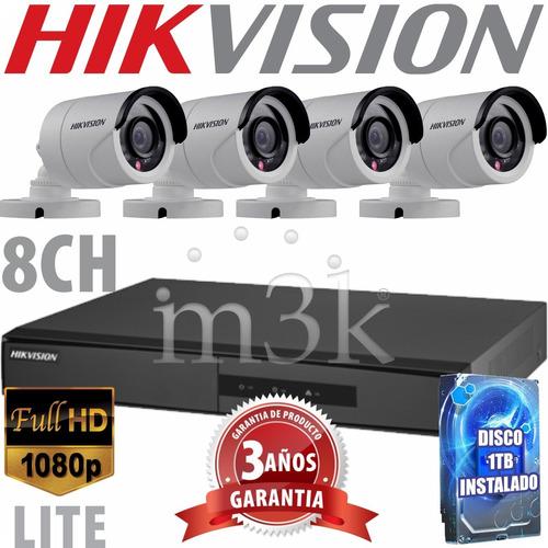 Kit Seguridad Hikvision Full Hd Dvr 8 + Disco 1tb Instalado + 4 Camaras Infrarrojas Exterior / Domos Interior + Ip M3k
