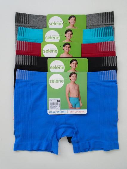 Cueca Infantil Boxer Sem Costura Selene Kit Com 10 Cuecas.