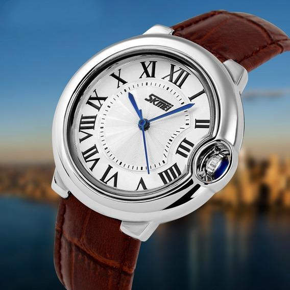 Relógio Feminino Skmei Analógico 9088 Pulseira Marrom Nf