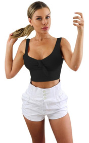 Mujeres Sexy Tie Knot Crop Tank Tops Sin Mangas Chaleco Crop