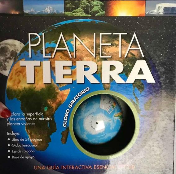 Guia 3d Planeta Tierra Con Globo Terráqueo Y Libro Nueva