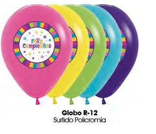 Globo Policromia Feliz Cumpleaños R12