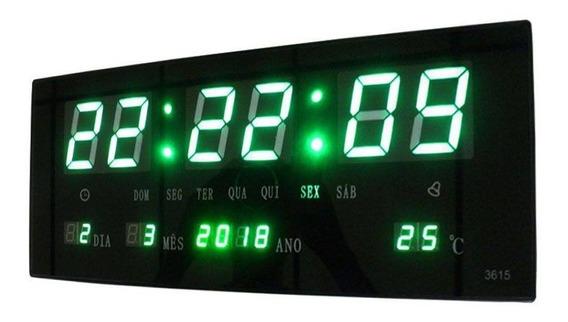 Relógio Parede Led Verde Digital Calendário Termometro 36cm