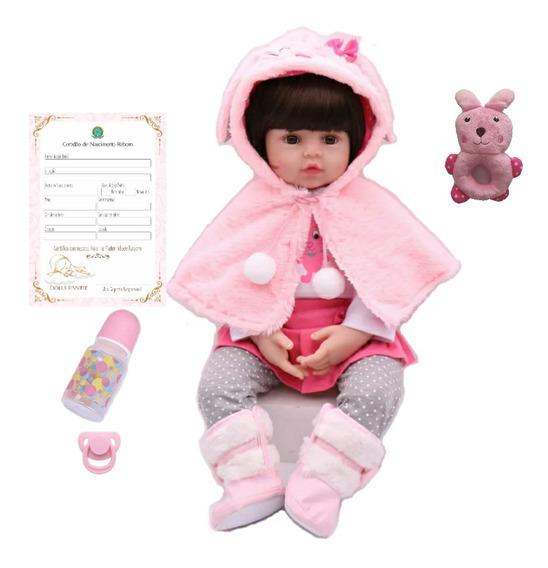 Bebê Reborne Boneca Realista 48cm Coelhinho Silicone