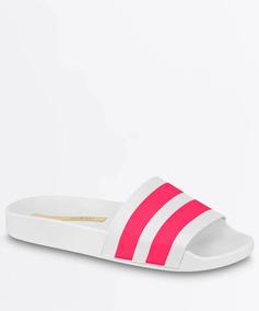 Sandália Moleca Slide Tira Pronta Napa Neo Branco Com Pink